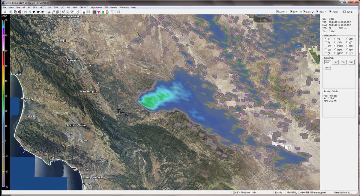 radar image courtesy NWSHanford weather radar smoke plume