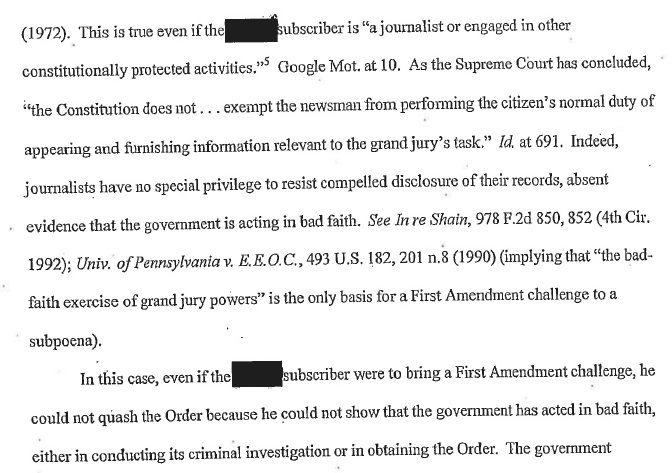This section of the unsealed document reminds me of James Risen for some reason. I just can't put my finger on why... http://t.co/AevWStM25a