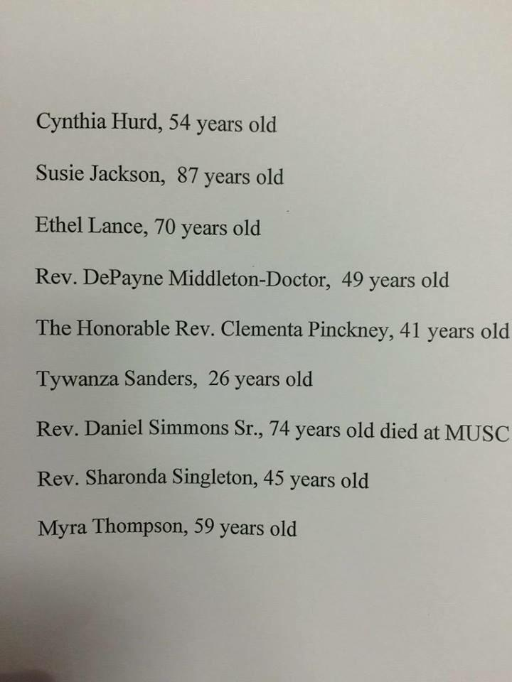 These are the names of the #CharelstonShooting victims. These names matter more than that other one. http://t.co/1d3q2XpPY5