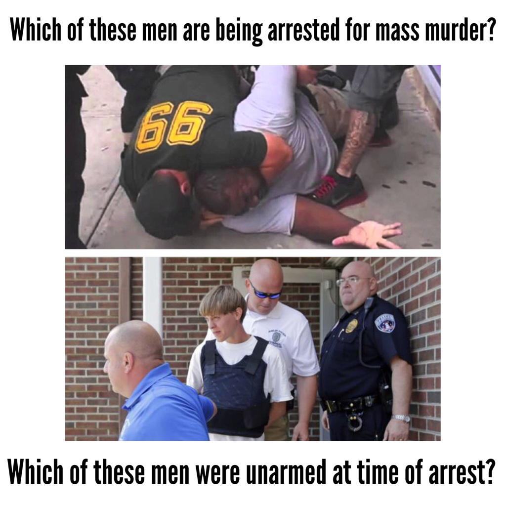One of these men was arrested for mass murder. #CharlestonShooting #BlackLivesMatter #ICantBreathe #WhitePrivilege http://t.co/BxJjPgaHlj