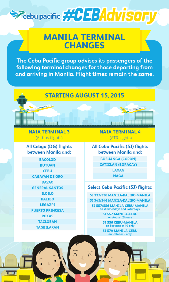 Cebu Pacific flights change terminals at NAIA