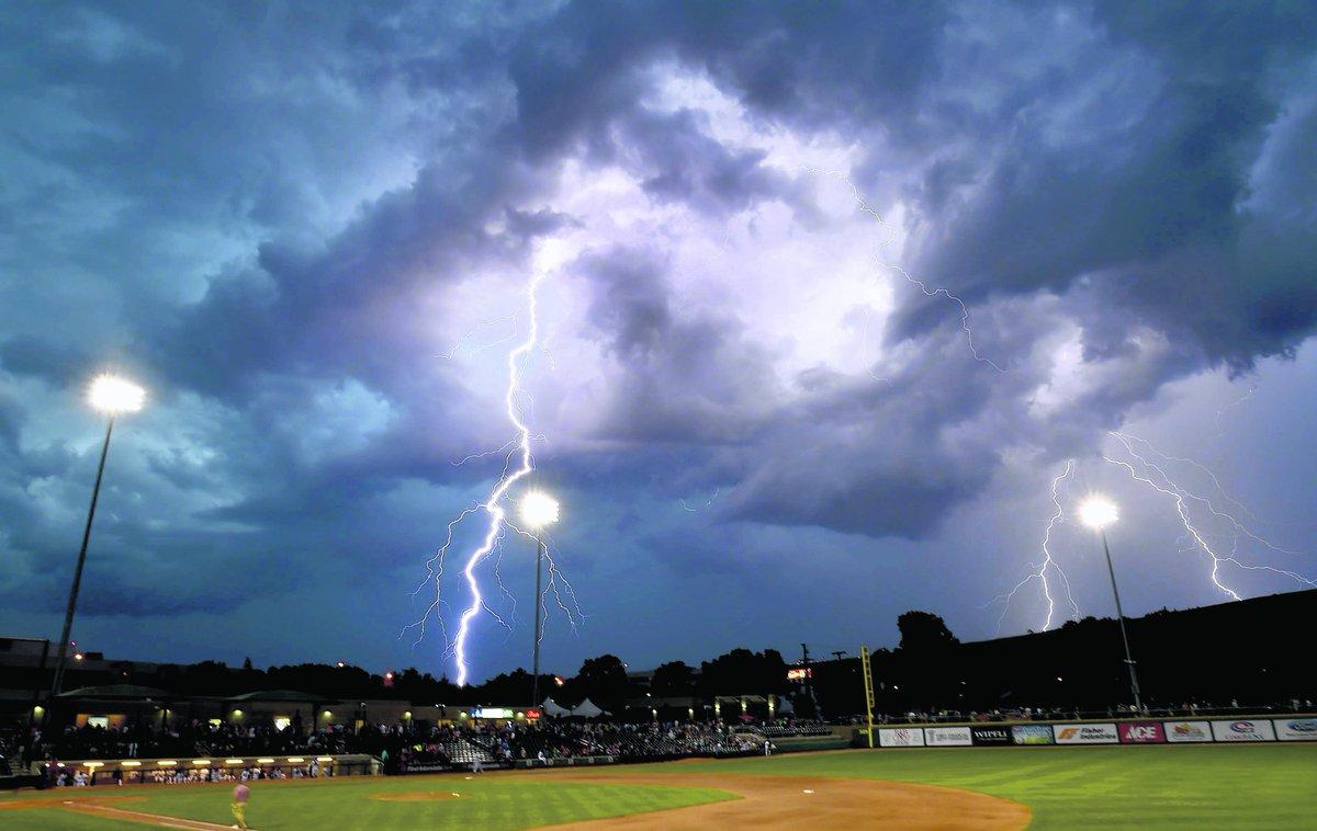 Gazette photographer Hannah Potes got this shot of lightning strikes over Dehler Park tonight. http://t.co/bTFotn9ZJK