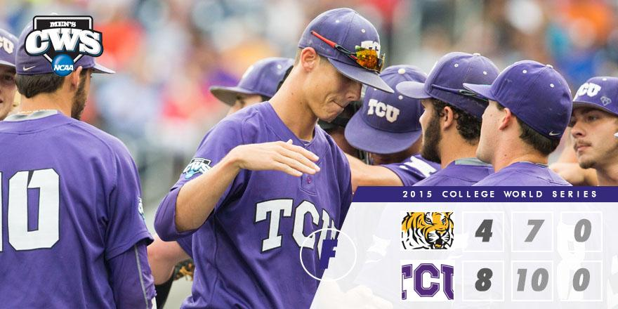 FINAL: TCU defeats LSU, 8-4. The Horned Frogs will face Vanderbilt tomorrow night at 7 #CWS http://t.co/529l2m9Xor