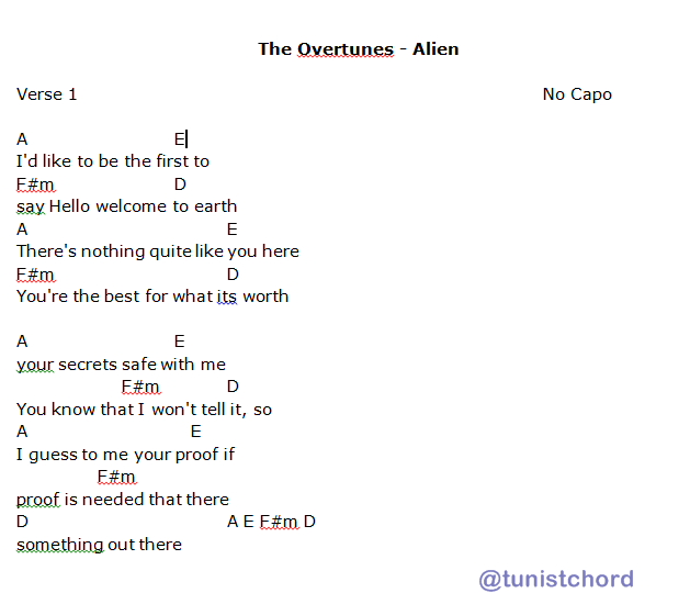 Tunist Chord On Twitter The Overtunes Alien Chords 1 Please