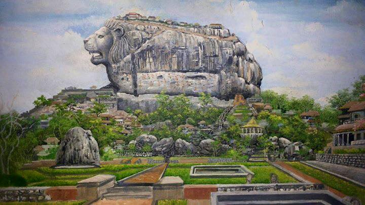 A painting of how Sigiriya might have been in the past. Damn! Impressive.  Art by Sithum Sudhara.  #lka #Tourism http://t.co/qmVTjSgD9k