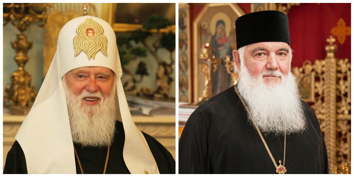Patriarch Filaret of UOC-KP  (L) & Metropolitan Makariy of UAOC (R)