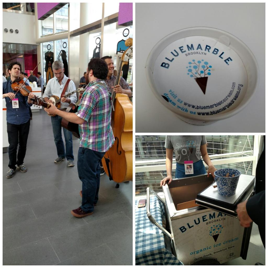 Fridays just got weird at Bloomberg. #icecream #bluemarble #theresafiddlerinmyoffice