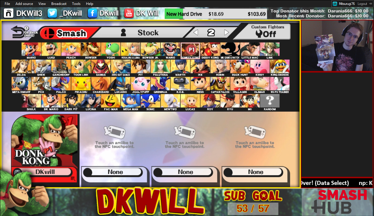 """Anther Ladder dkwill on twitter: """"live with #smash4! training a dk amiibo"""