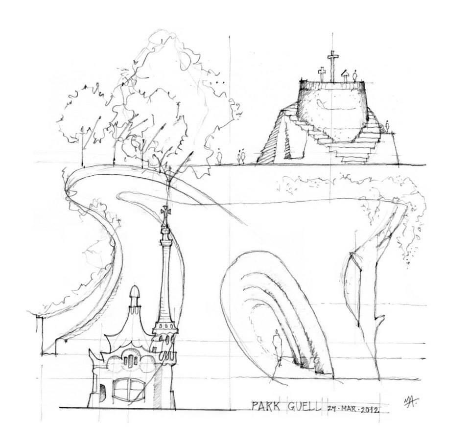 Michael Abrams On Twitter Analytique Sketch Of Park Guell