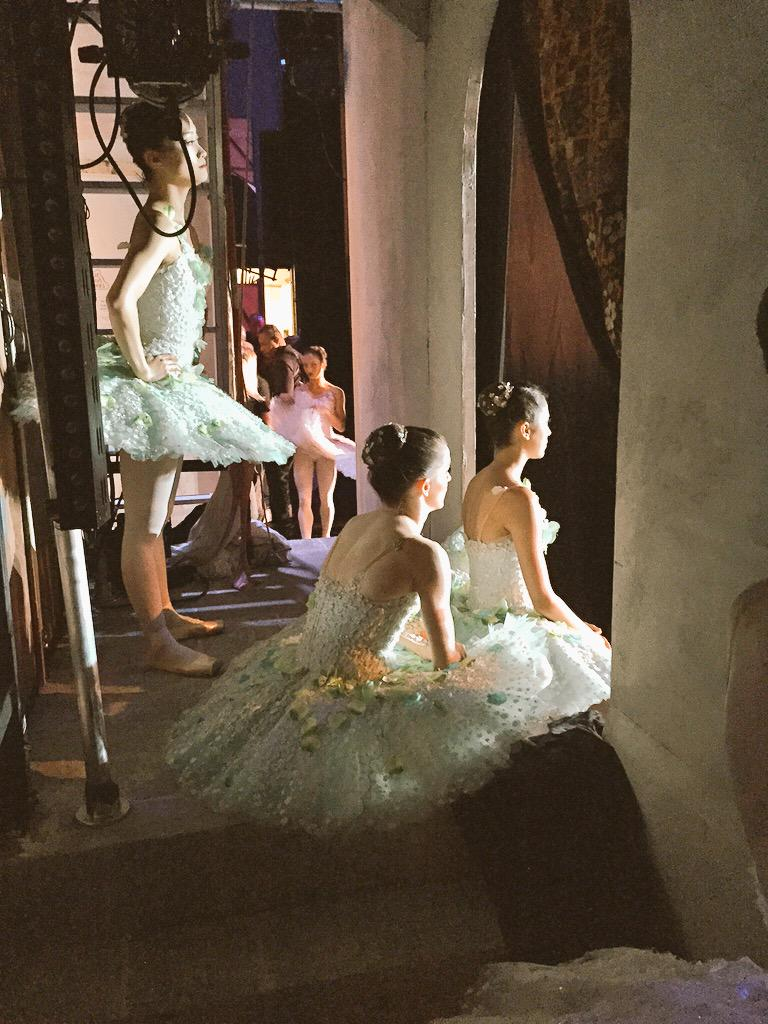 Act 2 dream scene in progress. Beautiful dryads taking a breath and looking from the wings. #RBdonQ #RoyalBalletUSA http://t.co/LE7OeJ9Vrq