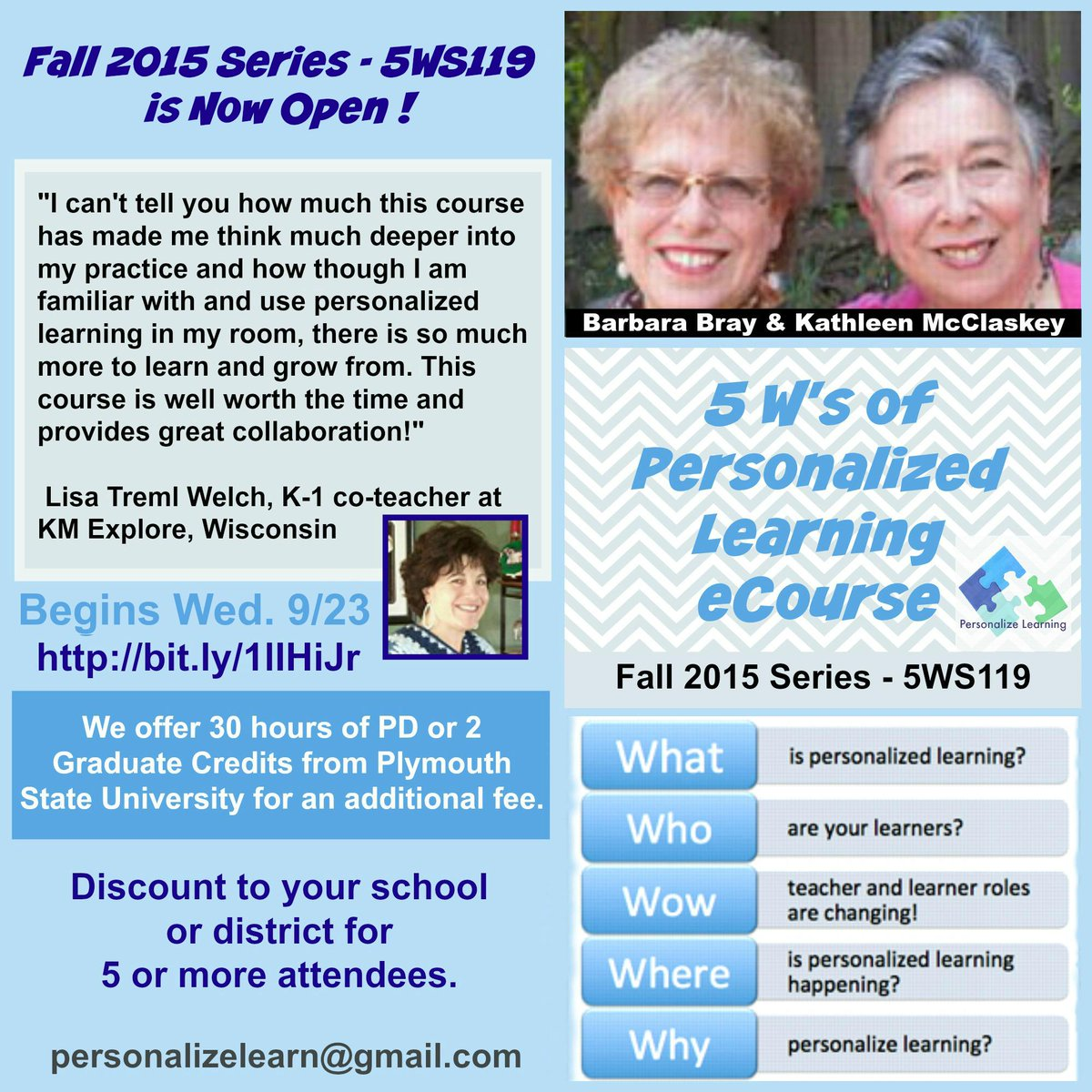 Our 5Ws to Personalize Lrning eCourse is open-Fall Registration! http://t.co/VyGNQhxo9E  #catholicedchat http://t.co/NC2GqIzjKf
