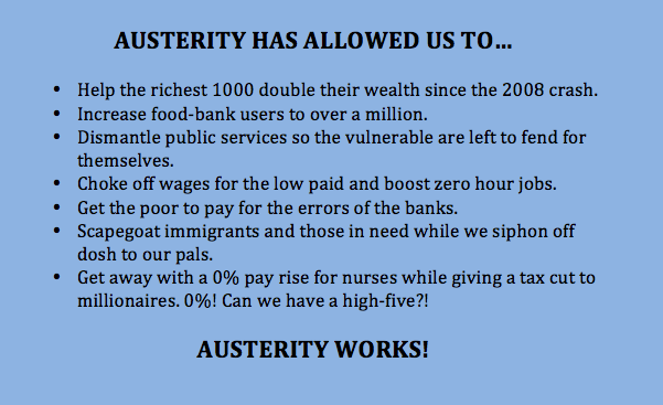 Don't listen to the demonstrators. Austerity works!  #EndAusterityNow http://t.co/X8ztW48VWb