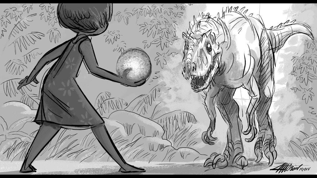Pixar artist @munchanka 's drawing of the Battle of the Box Office. @PixarInsideOut vs @JurassicPark, who will win?! http://t.co/qZsvcS9AWs