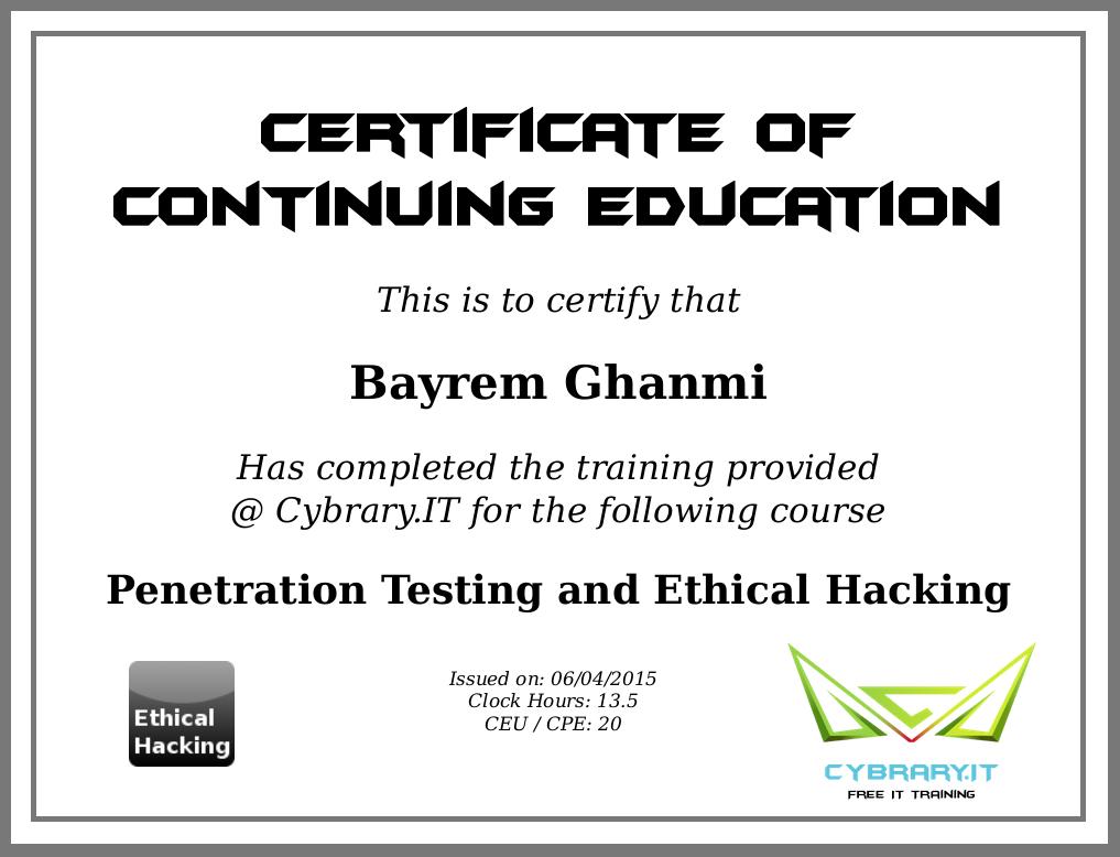 Bayrem ghanmi on twitter certificate from cybraryit cybrary 404 pm 8 jun 2015 1betcityfo Gallery