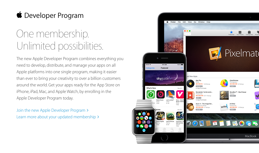 Apple just consolidated all dev memberships into a single dev program. No need to pay for a separate Mac program now! http://t.co/7sv2aPUAWY