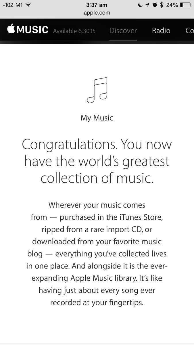 This is why Apple Music is gonna win over old people like us from Spotify. Upgrade path that includes our libraries. http://t.co/JGHUjTMjsJ