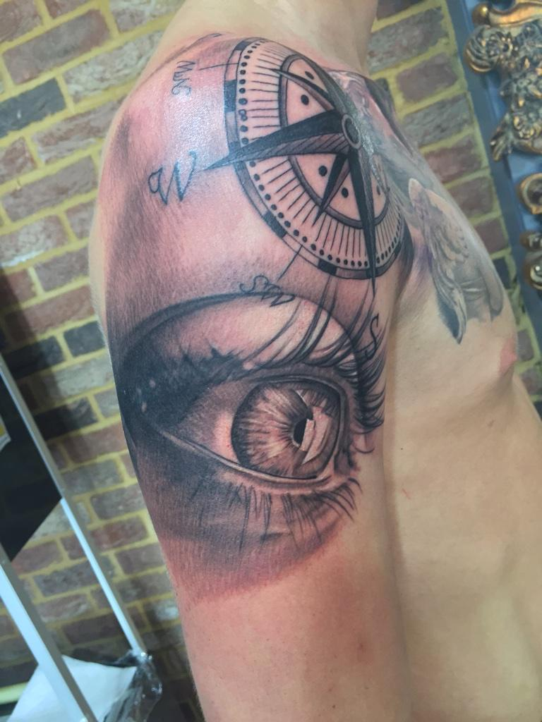 andrew dennis on twitter oh yeah done this eye and compass tattoo this week enjoyed this. Black Bedroom Furniture Sets. Home Design Ideas