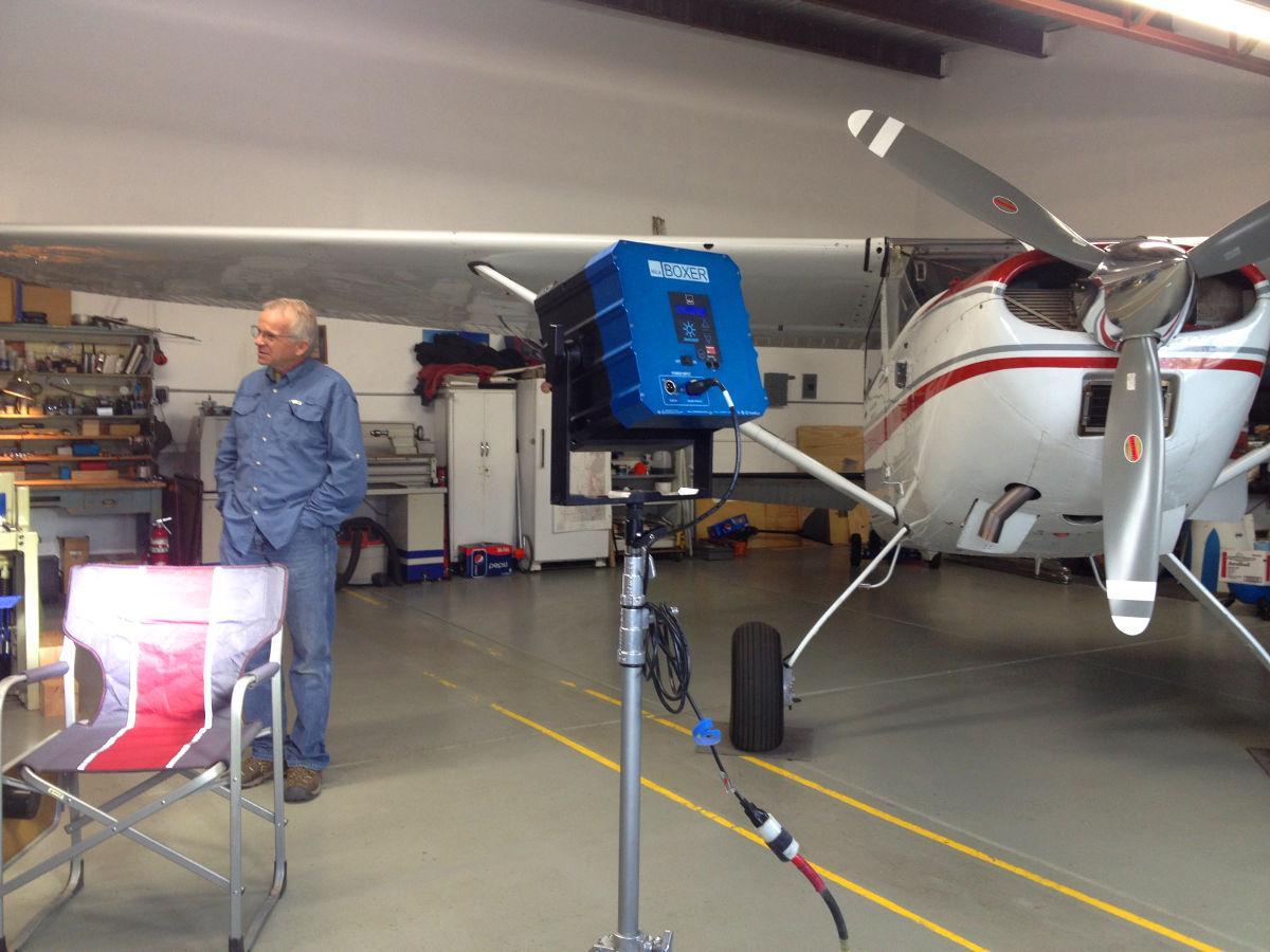 Steve Durtschi in his hangar while shooting his #HiddenSplendor interview.(https://disciplesofflight.com/hidden-splendor-airstrip-video/…)  #BehindTheScenespic.twitter.com/z7sKeDg67N
