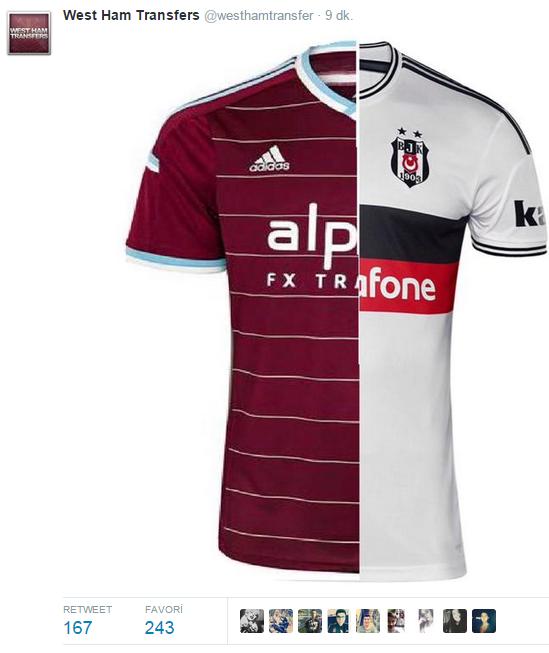 Sosyal medya Beşiktaşlı ve West Ham United'lı taraftarların attığı tweetlerle coşmuş durumda...