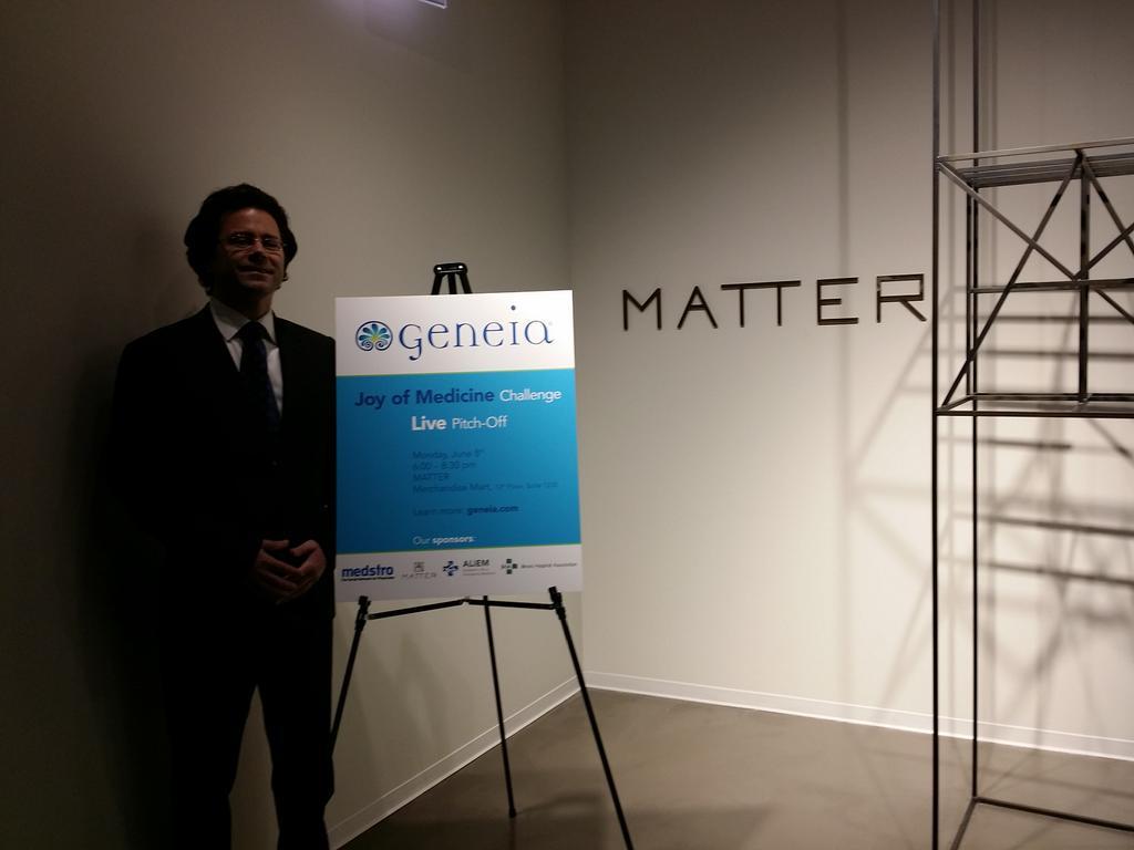.@MedTechJim getting ready for the @Geneia #JoyofMedicine Pitch-off @MATTERChicago! http://t.co/A45bQQrwOA
