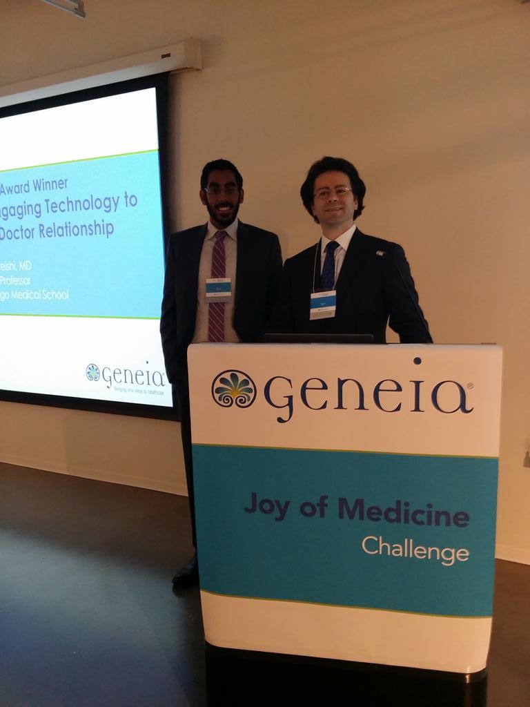 .@MedTechJim and Hashim running through slides for the @Geneia #JoyofMedicine @MATTERChicago! http://t.co/1gT9736Z1t