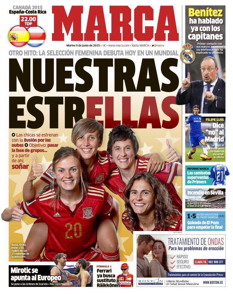 Lo voy a decir yo, que no trabajo ahí. Me encanta que las portadas de hoy de @marca y @diarioas sean para @FIFAWWC ⚽️ http://t.co/lFuMgSwq9X