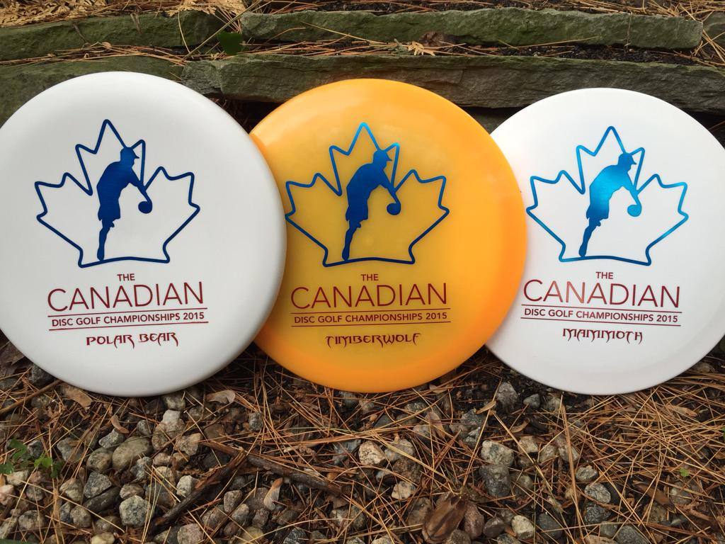 Polar Bear, Timberwolf and Mammoth with the Canadian Disc Golf Championships 2015 stamp