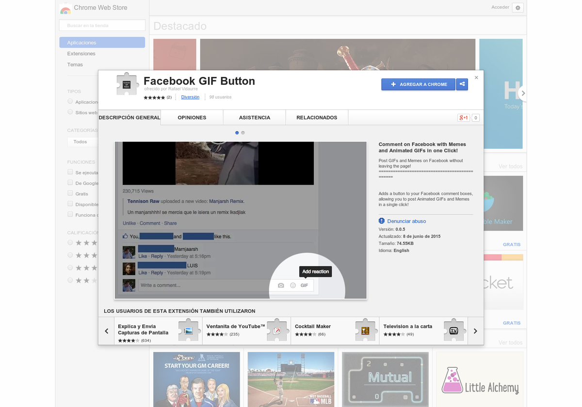 product hunt on twitter facebook gif button add a gif reaction
