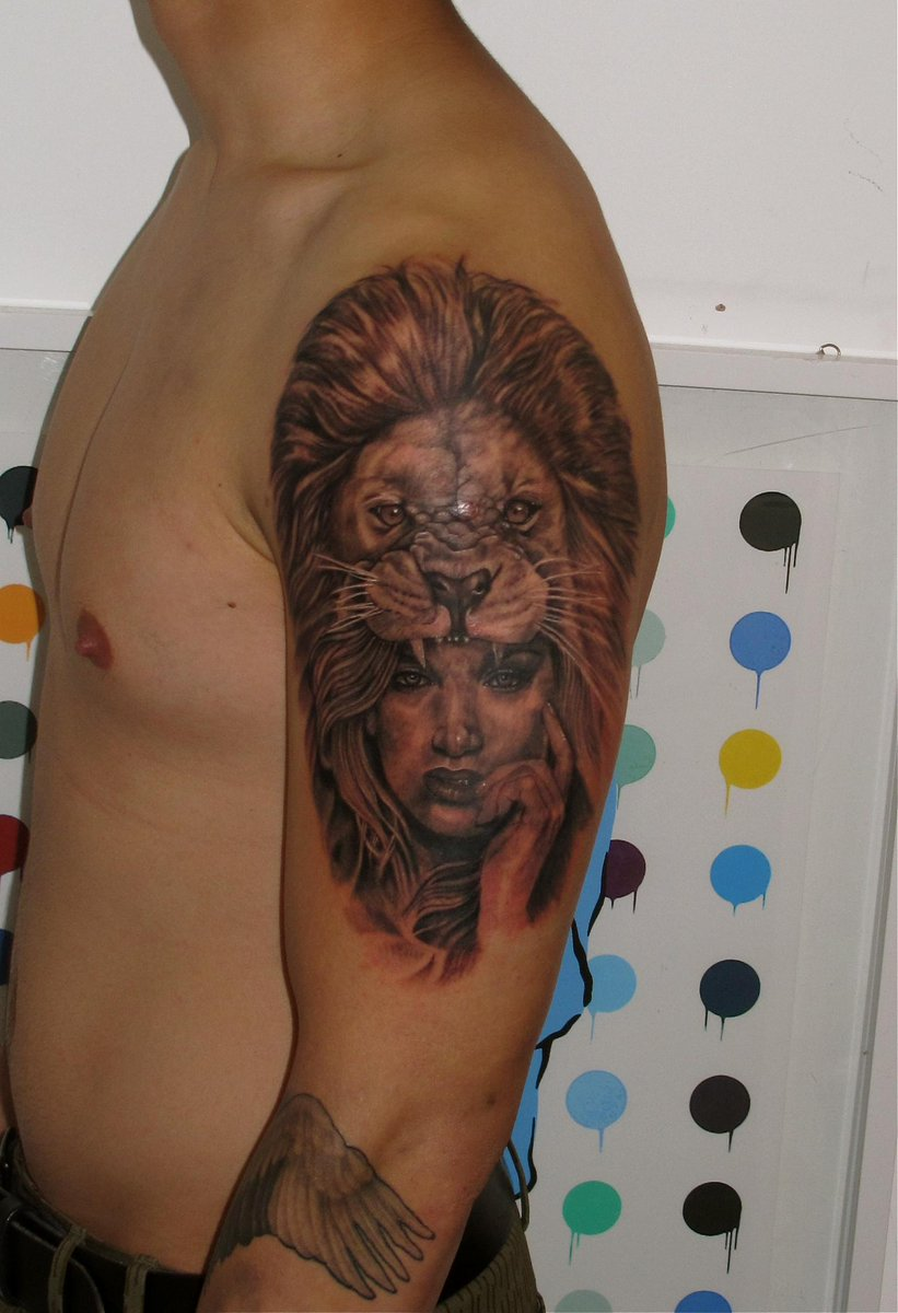 Monsters Of Art On Twitter Amazing Lionwoman Tattoo By Justin In