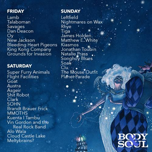 Here you go! The day breakdown of acts for #bodysoul15. Running orders to follow soon! http://t.co/MdBhBaz3hj
