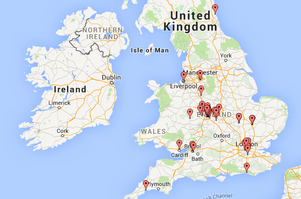 Here's (some of) the postcode map for #BeesInATin attendees so far. Which is nice.   https://t.co/nGEJJPZZ34 http://t.co/e2XOrtpu8U