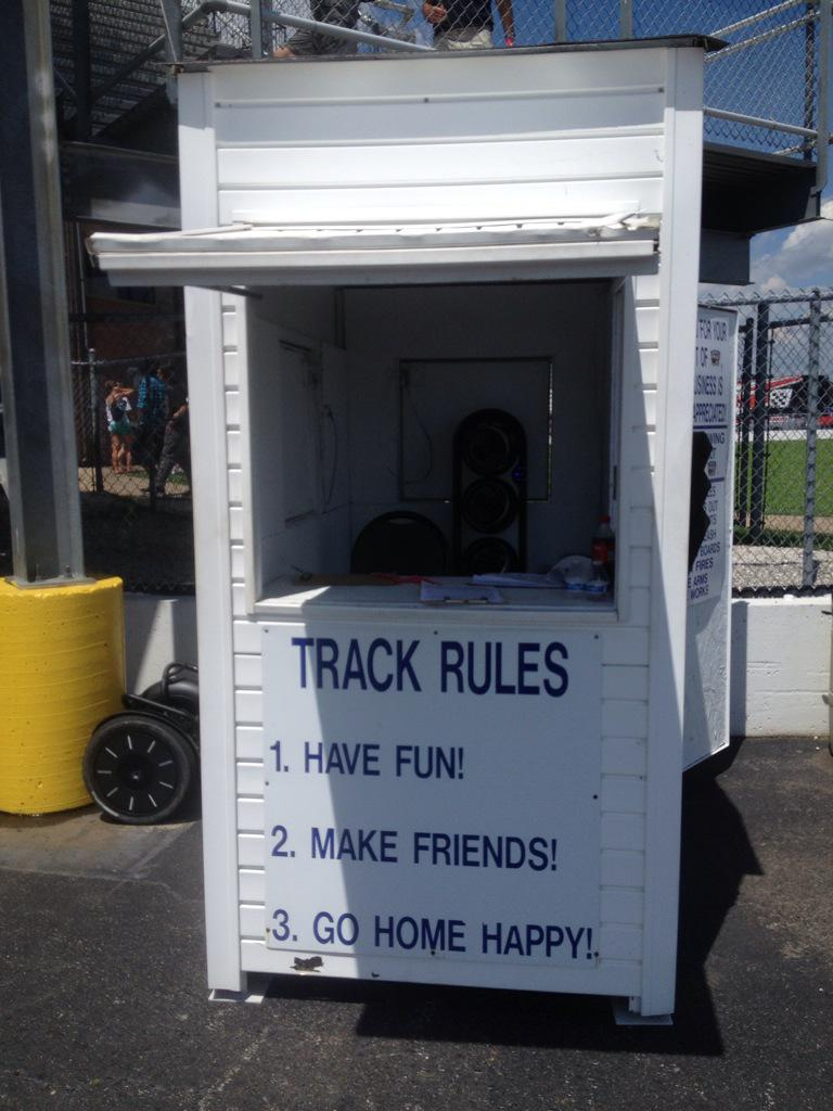 Love the track rules at one of the #hotrodpowertour2015 stops http://t.co/SdUKk2dFAJ