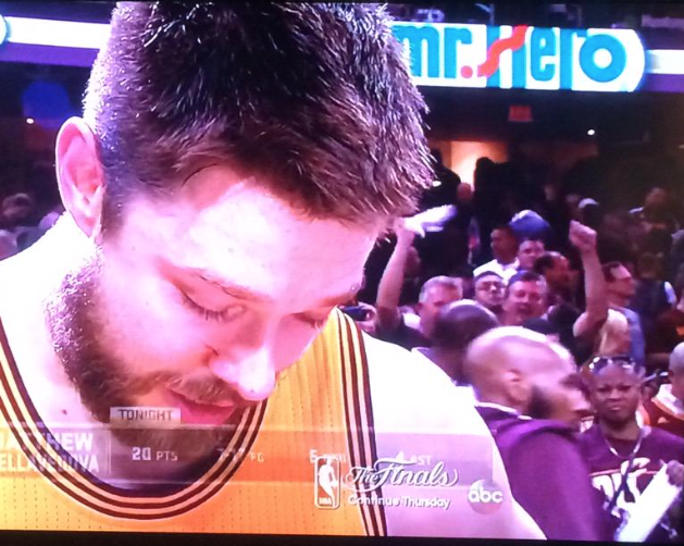The perfect sponsorship pops up during Matthew Dellavedova's postgame interview (H/T @Mark_Brandau) http://t.co/ooH4ZrChci