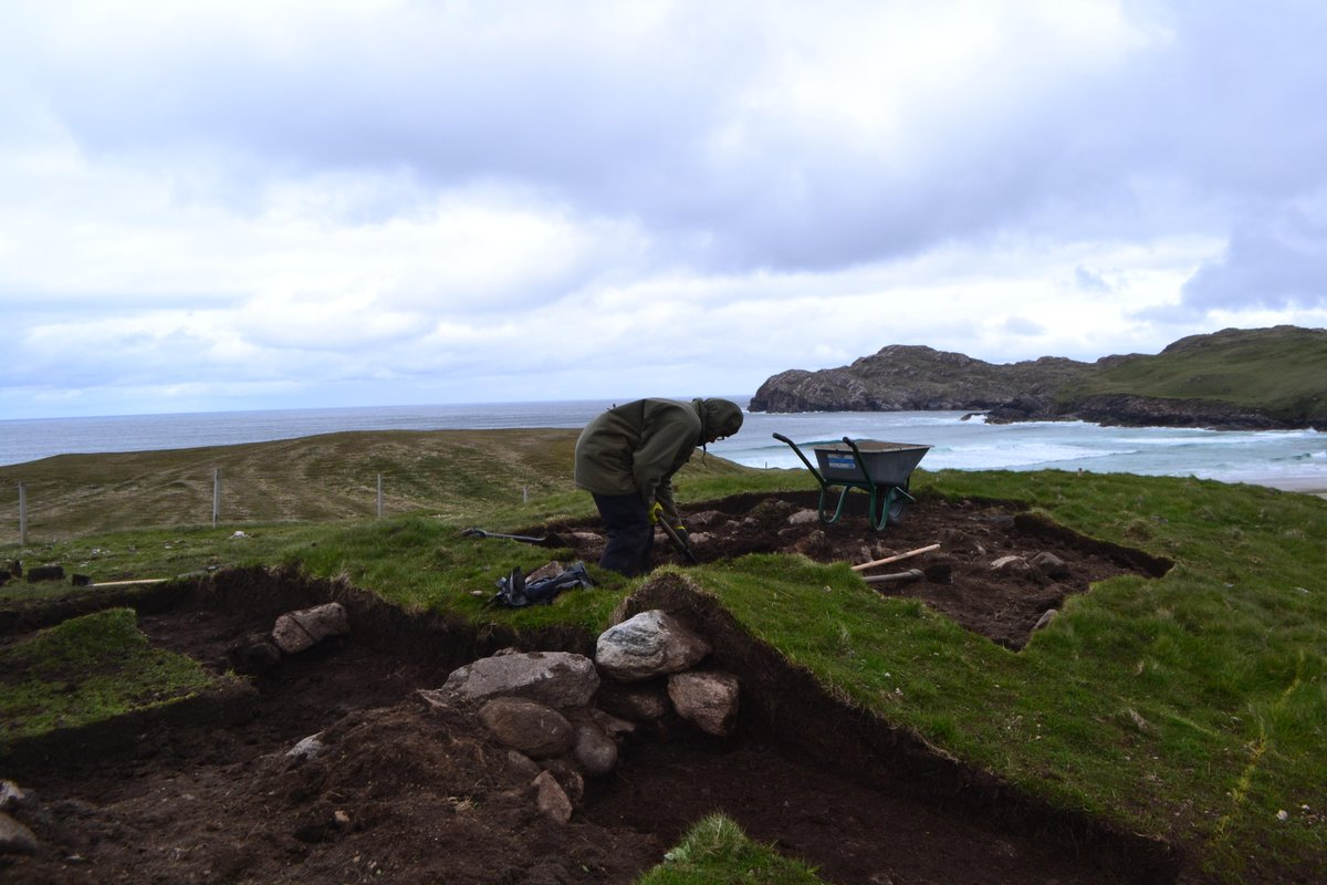 De-turfing and exploring the site last week on #Leodhais #NahEileananSiar. Those walls look like #archaeology to me?