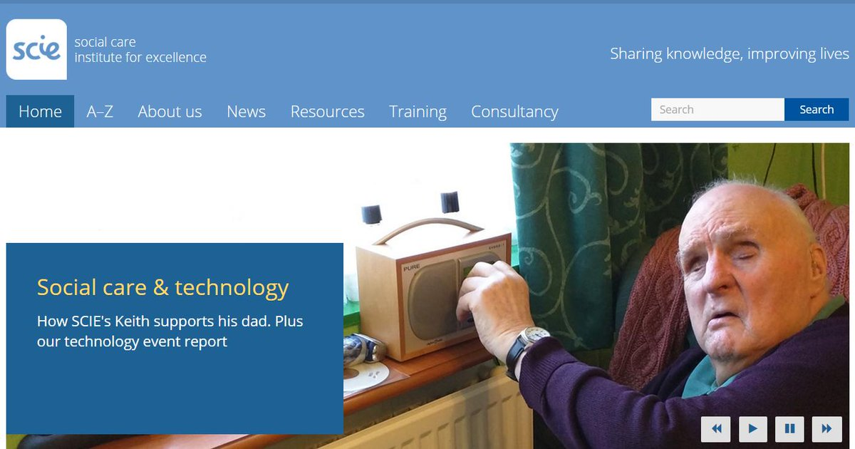 """CARERS WEEK. """"Using technology for Dad"""". SCIE's @infotransport and our new report #carersweek http://t.co/Cddc0Epgrt http://t.co/VBTDTiwuwB"""