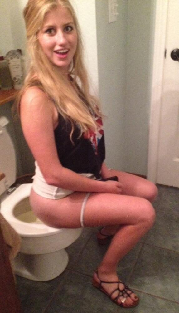 Blonde girl on toilet, milf black hand job