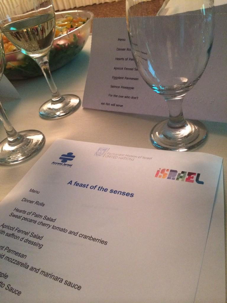 Thank you @IsraelinUN for a very educational dinner experience on living with disabilities #Feast4senses ! http://t.co/OLSWRAPLYD