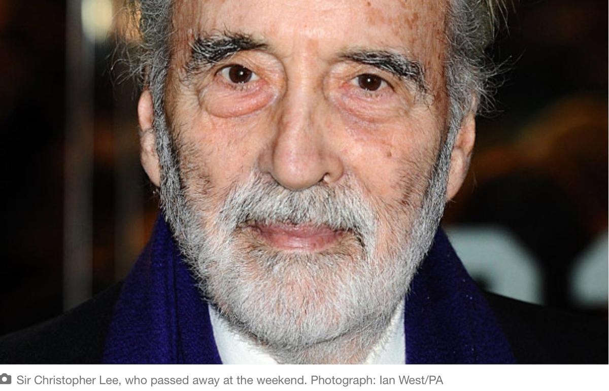 Oh no - Christopher Lee (aka Saruman, aka Count Dooku, aka Dracula) has died :-(  http://t.co/O5GAZ0i5FM http://t.co/ChGbonA8DR