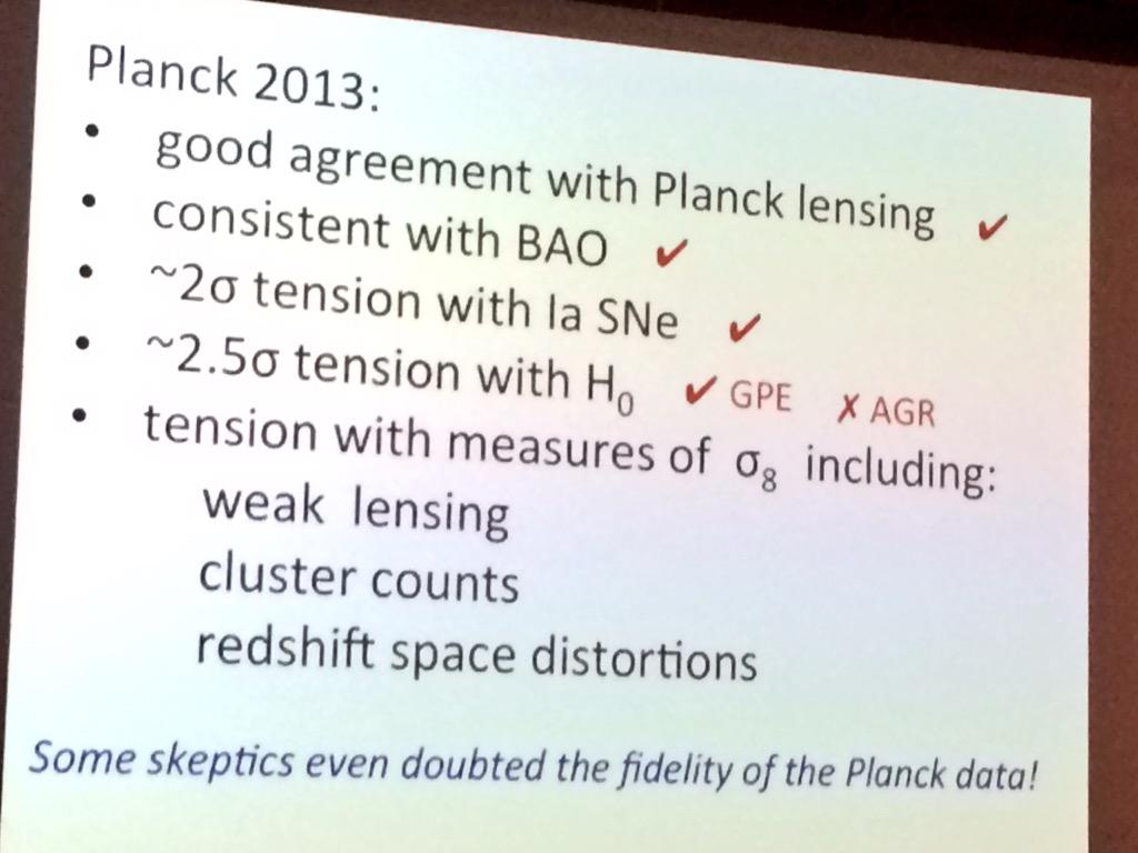 Efstathiou:  whether there is tension w Hubble constant Planck vs direct measure depends on who you talk to #CMBat50 http://t.co/uOwx3rrgLV