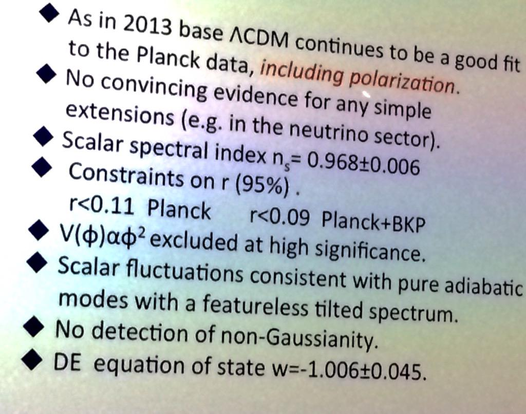 Efstathiou: planck finds no evidence for new physics but importantly limits inflation potential be v. flat  #CMBat50 http://t.co/lSqvgw1iuE