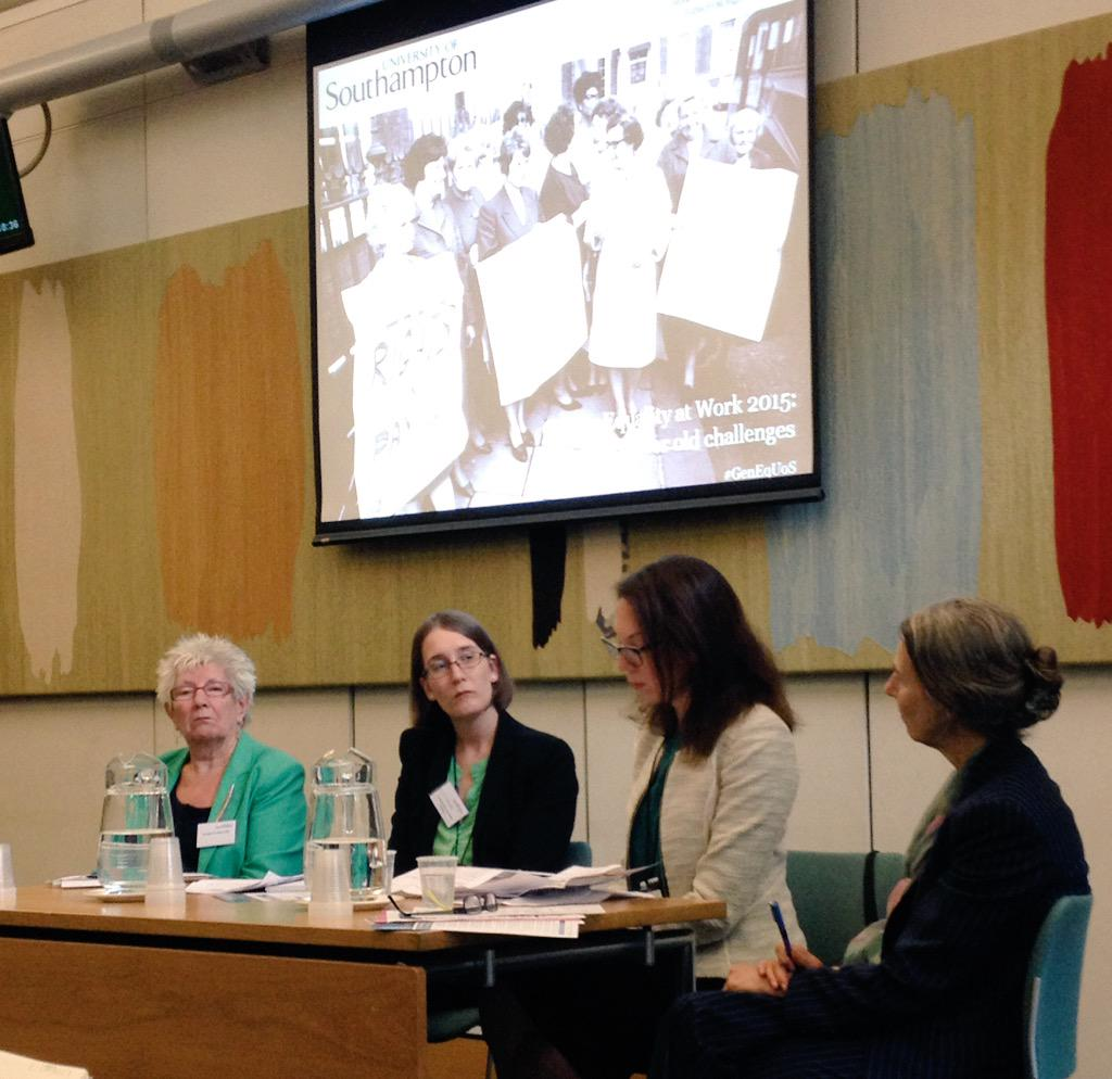 Distinguished panel discussing #GenEqUoS - ScarletHarris @gillrider Lena Levy and Baroness Prosser  @PublicPolicyUoS http://t.co/1bKgmZnZZp