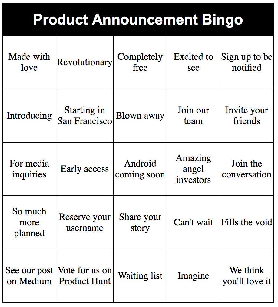 Product Announcement Bingo http://t.co/tCuqOu4B0S