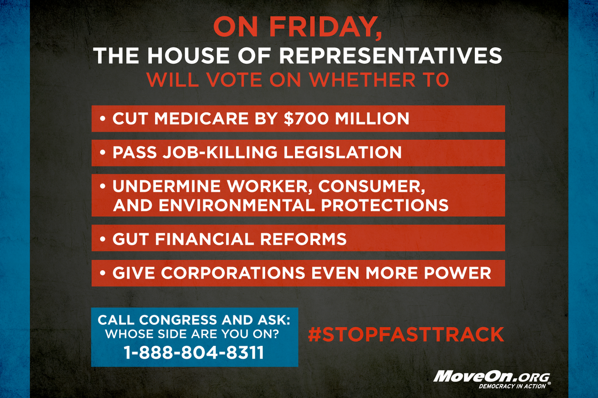 PLS RT: We need to #StopFastTrack and we need to do it now. CALL & ask #Congress which side they are on.