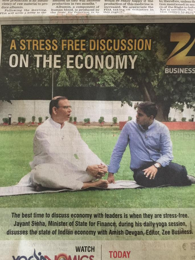 Well. Thank you zee business. Who would have thunk? Yoga Pose busy netajis ki bahar till 21st. <br>http://pic.twitter.com/RpVMr39dIL