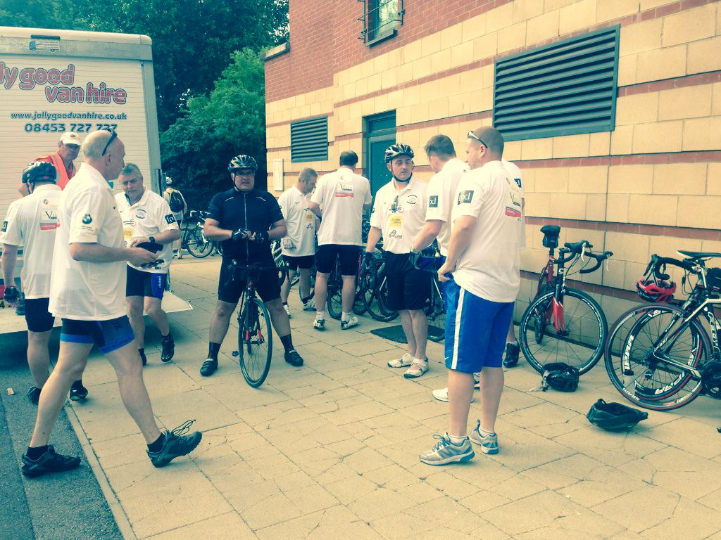 The @pnefc riders getting ready to set off here at @leytonorientfc! #L2A http://t.co/W2M8JIePNc