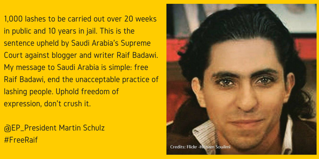 #FreeRaif: @EP_President Schulz condemns...