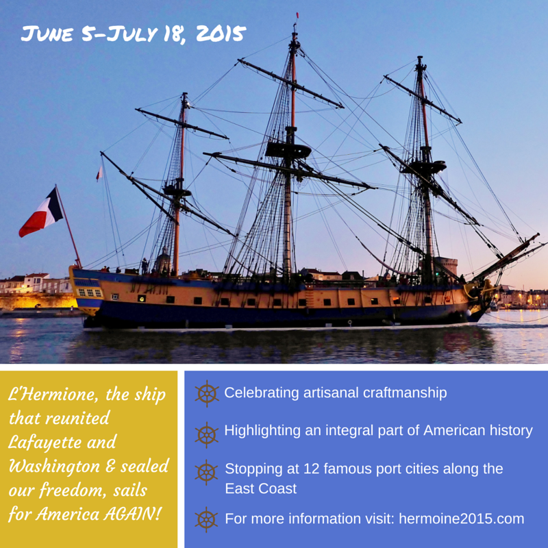L'Hermione sails for America again. Check out the itinerary and let us know where you are seeing her! #Hermione2015 http://t.co/DZZ3MiIE0w