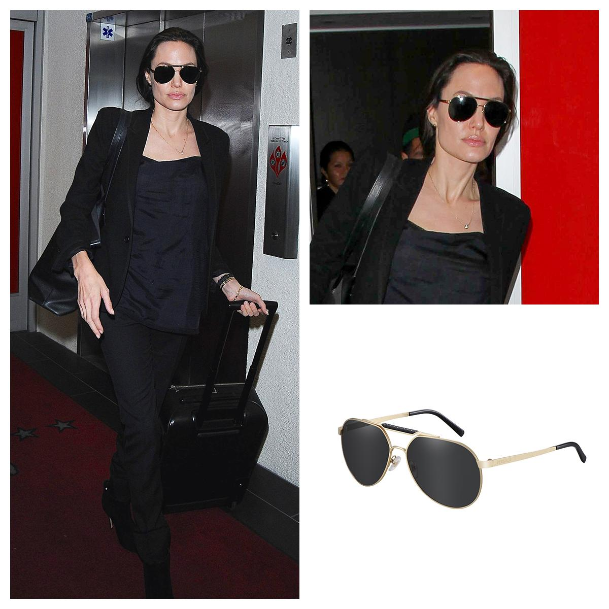 eaaf7d9251 angelina jolie wearing a pair of brand new aviator versace sunglasses  versacecelebrities versaceeyewear