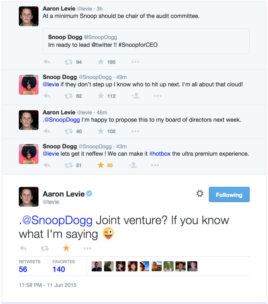#OnlyOnTwitter: this conversation between @SnoopDogg and @levie.
