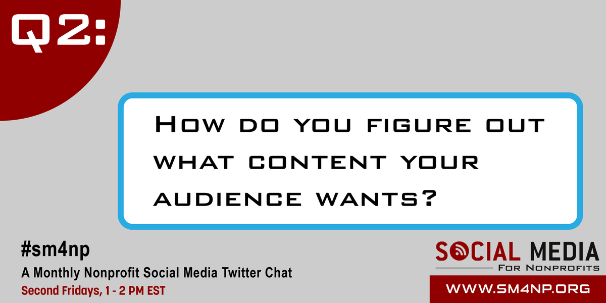 Q2: How do you figure out what content your audience wants? #SM4NP #ArtofSocial http://t.co/bjg08Iq1x1